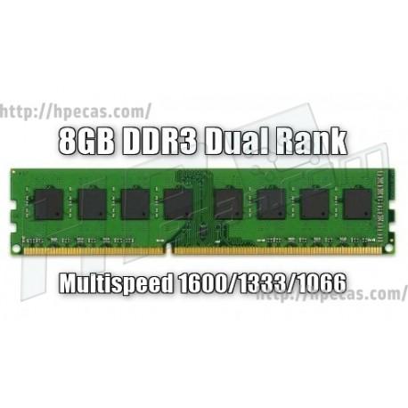 Memória 8GB Compatível DDR3 Desktop MultiSpeed 1066/1333/1600 Mhz DUAL RANK (N)