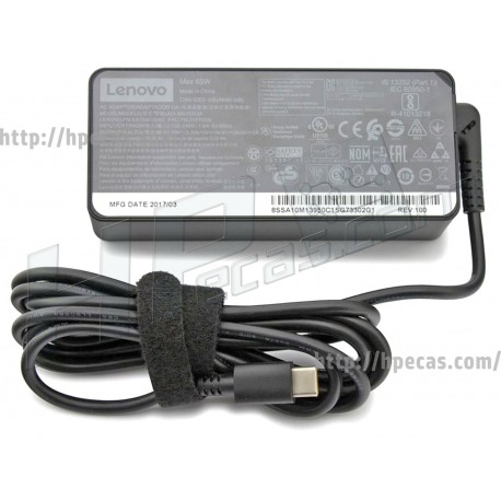 Carregador Original LENOVO 65W 20V 3.25A USB-C (AC150, 01FR024, 01FR025, 01FR026, 01FR027, 01FR028, 01FR029, 01FR030, 01FR031)