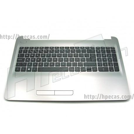 HP Top Cover Turbo Silver inclui TouchPad e Teclado PT HP 255-G5 256-G5 15-AY 15-AU 15-AS 15-BA 15-BG (855022-131, PK131O23A16)