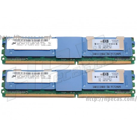Memória HP 8GB (2x 4GB) 2Rx4 PC2-5300F DDR2-667 FB/ECC CL9  1.8V (397415-B21) R