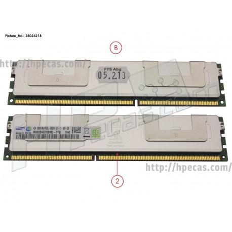 FUJITSU 64GB (2x32GB) 4RX4 PC3L-8500R DDR3-1066 REG CL7 ECC 1.35V STD (38024218, M393B4G70BM0-YF8, S26361-F4523-R626)