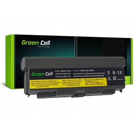 Green Cell Bateria para Lenovo ThinkPad T440P T540P W540 W541 L440 L540 (rear) - 11,1V 6600mAh (LE90)
