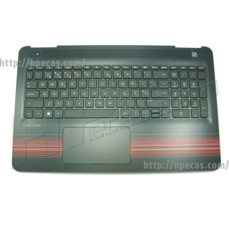 HP PAVILION 15-AU, 15-AW, Top Cover with Portuguese Keyboard and TouchPad in Cardinal Red (856029-131) N