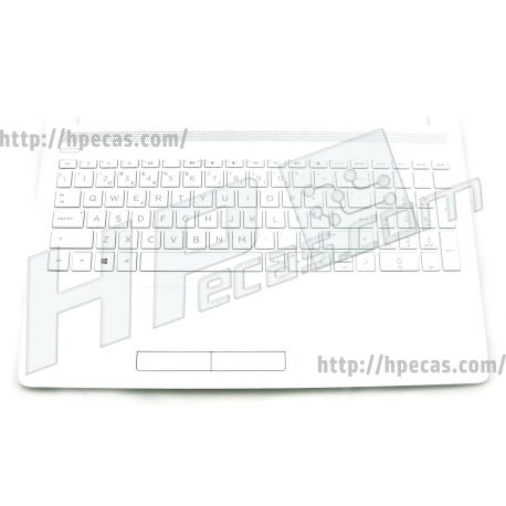 HP Top Cover Defeatured models, Snow White c/TouchPad e Teclado s/Backlight PT HP 15-DA, 15-DB (L23066-131, L26532-131)