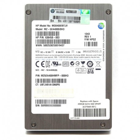 """636625-B21 HP 400GB 3GB/s 2.5"""" SFF SATA QR MLC SSD"""