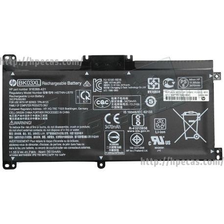 Bateria HP HT03XL Original de 3 células 11.55V 41.7Wh 3.60Ah (916366-421, 916366-541, 916811-855, BK03041XL-PR, HSTNN-LB7S) N