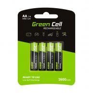 Green Cell Pack 4x Pilhas AA Recarregáveis 1.2V 2600mAh Alta Capacidade (GR01)