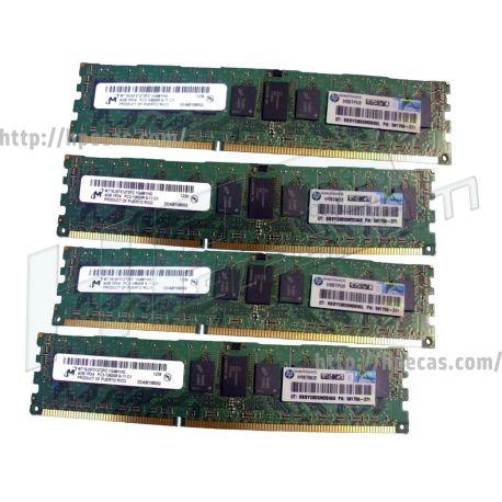HPE 16GB (4X4GB) 1RX4 PC3-10600R DDR3-1333 Registered CL9 ECC 1.50V STD (591750-371, AH340A, AM327-69001) N
