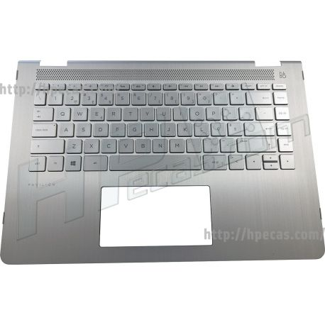 HP PAVILION 14-BAxxxxx TOP COVER with Keyboard PT Pike Silver with backlight (916924-131, 924115-131, NBLB2) N