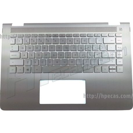 HP PAVILION 14-BAxxxxx TOP COVER with Keyboard PT Pike Silver with Speaker Grille in Silk Gold with Backlight w/o/Touchpad (46M.0C2CS.0083, 916924-131, 928708-131, HPM16M93P0J4421) N