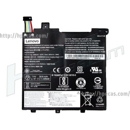 Bateria Original de 2 células 7.5V 30Wh 4000mAh  para Lenovo V130-14 (5B10P53997, 5B10P54001, 5B10P54006, 5B10W67357, 5B10W67379, 5B10W67422, L17C2PB1, L17L2PB1, L17M2PB1, SB10W67211, SB10W67231, SB10W67293) N