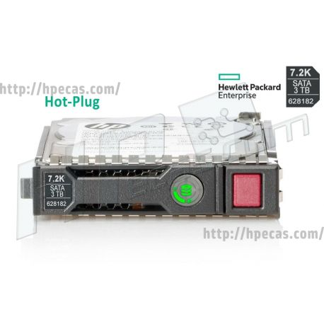 """HPE 3TB 7.2K 6Gb/s DP SATA 3.5"""" LFF HP 512n MDL Gen8-Gen10 SC Not for MSA HDD (628061-B21, 628182-001) R"""
