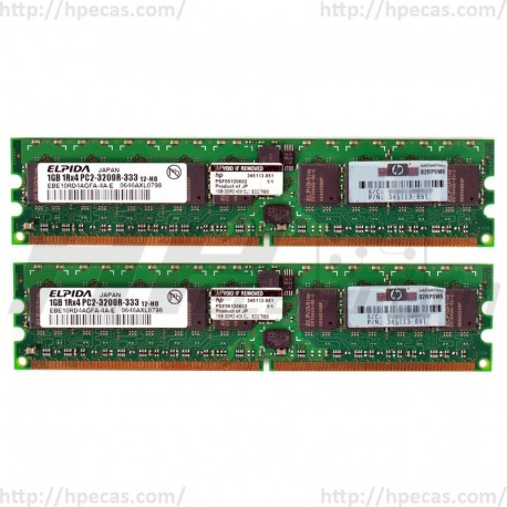 343056-B21 HP 2GB (2X1GB) 1Rx4 PC2-3200R DDR2-400 Registered CL3 ECC 1.8V STD 413385-001(N)