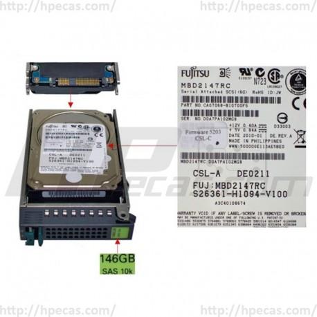 Fujitsu 146GB 6GBs 10K SAS 2.5 SFF HP ENT Caddy HDD 38016638 MBD2147RC S26361-F4004-L114 ST9146803SS (R)